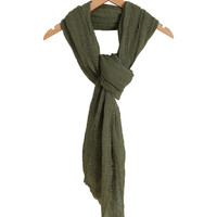 Olive Green Frayed Scarf