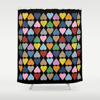 Diamond Hearts on Black Shower Curtain by Project M