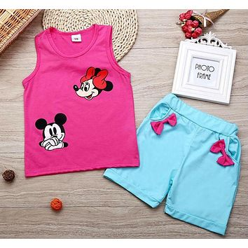 Infant clothes toddler children baby girls clothing sets cartoon cartoon mouse clothes set kids set