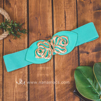 Mint & Gold Leaf Stretch Belt