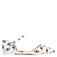 Ankle Strap D'Orsay Eyes Print Flats