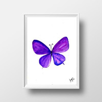 purple butterfly watercolor painting wall art print poster decor insect living room decal print art poster large & small beautiful butterfly
