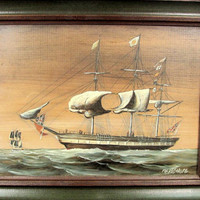 Vintage FORBES-WOLFE SHIP Painting Oil On Board Wood Frame Union Jack Flag