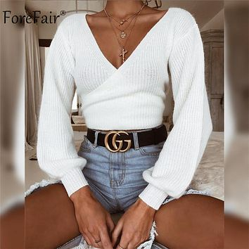 Forefair Off Shoulder V Neck White Sweaters Women 2018 Autumn New Back Bow Lantern Sleeve Sexy Slim Crop Tops Solid Streetwear