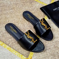 Saint Laurent YSL Leather slide sandal