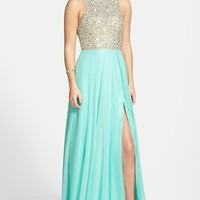 Junior Women's Mac Duggal Embellished Bodice Open Back Gown,