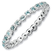 Stackable Expressions™ Prong-Set Aquamarine Eternity Style Ring in Sterling Silver