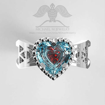 Double heart container triforce ring, custommade handmade ***Made to Order