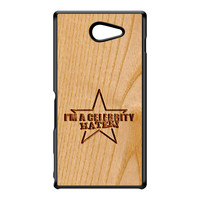 Carved on Wood Effect_Celebrity Hater Black Hard Plastic Case for Sony M2 by Chargrilled