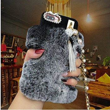 Handmade Butterfly Bling Crystal Rhinestone Pearl Chain With Soft Rabbit Fur Rhinestone Case Cover for Iphone 6 6s plus Warm Case (black)
