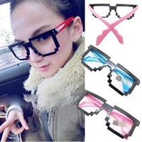 Shark Square Frame Thick Shades Fashion Mosaic Style Cool Glasses Frame 9 Colors