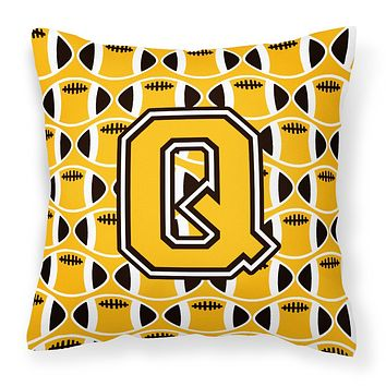Letter Q Football Black, Old Gold and White Fabric Decorative Pillow CJ1080-QPW1414