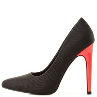 Qupid Neon-Heel Pointed Toe Pumps by