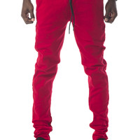 The James Tapered Ankle Zip Pants in Red