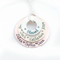 Mothers Day Gift - Personalized Necklace - Mixed Metal - Hand Stamped Jewelry - Custom Necklace - Name Necklace