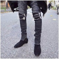NEW 2018 hip hop urban clothing justin bieber unisex kanye west star motorcycle stretch skinny distressed ripped biker jeans