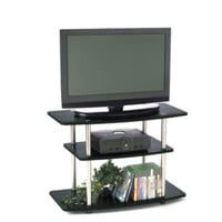 32-Inch Contemporary TV Stand in Black with 3 Shelves Living Room Furniture