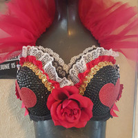 Queen of hearts inspired rave bra- queen of hearts from alice in wonderland festival top- queen of hearts rode bra with red collar