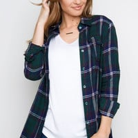 Get Together Plaid Top - Green