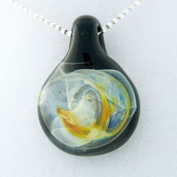 Silver-fumed galaxy, hand blown glass pendant