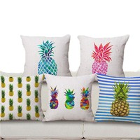 18'' Square Pineapple Flower Birds Custom Pillows Cover Geometry Baby Sofa Decoration Gift Customized Drop Shipping