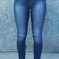 Sarah Knee Slit Skinnies