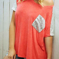 Orange Sequined Panel T-shirt