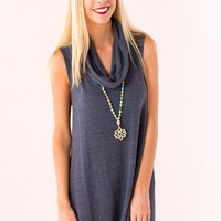 Throw In The Cowl Sweater Dress in Grey