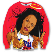 Aaliyah Tribute All Over Print Red Crew Neck Sweatshirt