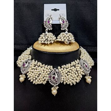 Pearl cluster bead Peacock statement choker necklace and Jhumka earrings set with kemp stone