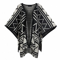 MapleClan Women Cotton Loose Batwing Aztec Kimono Cardigan Blouses Black 2