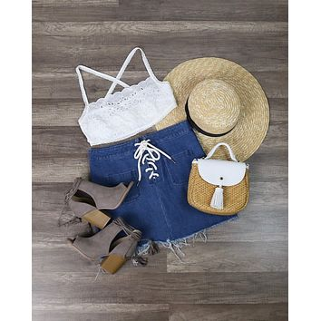 Free People - Cassandra Crop Top in Ivory