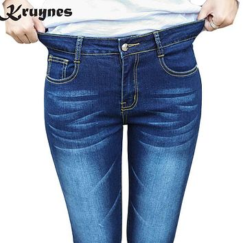 Large Size Elastic High Waist Jeans For Women With Stretching Denim bleached Jeans Skinny Pencil Trousers For Women big size