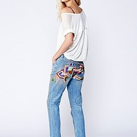 Free People Womens Daybreak Embroidered Skinny