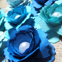 One dozen ( 12 ) hand rolled 2 inch blue paper flower sweetheart roses pearl centers