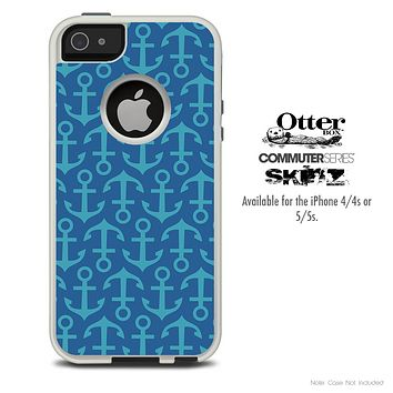 The Blue Anchor Vector Collage Skin For The iPhone 4-4s or 5-5s Otterbox Commuter Case