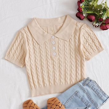 Half Button Cable Knit Crop Top