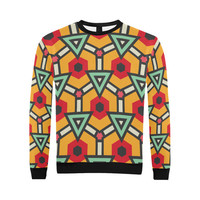 Triangles and hexagons pattern All Over Print Crewneck Sweatshirt for Men (Model H18) | ID: D2033225