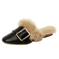 Women Faux Fur Slippers Flip Flops Plus Size Fur Balls Slides Pointed Toe Mules Women Slippers Pointed Outside Mules