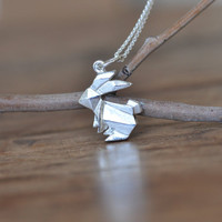 Origami Rabbit Necklace in Sterling Silver 925, Gold Rabbit Necklace, Silver Bunny Necklace, Origami Animal Jewelry, Origami Bunny Jewelry