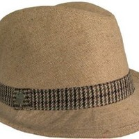 """Christys Crown """"Avery"""" Wool Tweed Fedora with Hounds Tooth Hat Band"""
