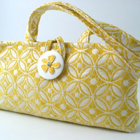 Yellow and white  Handmade clutch purse shoulder bag