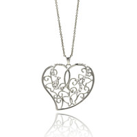 Brass Rhodium Plated Outline Heart Butterfly Necklaces