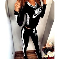 """NIKE"" Sexy Print V-Neck Pants Sweatpants Set Two-Piece Sportswear"