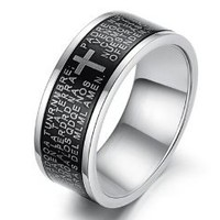 Best Gifts for Father's Day! New Ninabox Titanium Steel Cross & English Bible Scripture Men's ring RIW03234ML,size-8