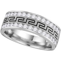 14kt White Gold Mens Round Diamond Comfort-fit Grecco Band Wedding Anniversary Ring 1.00 Cttw 110112
