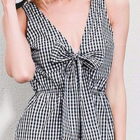 White and Black Plaid Romper With Bow Tie Playsuits