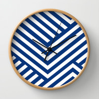 Blue and White Stripes Wall Clock by Liv B
