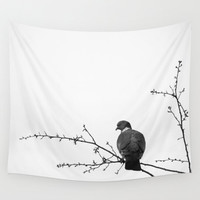 White tapestry, bird tapestry, wall tapestry, large wall hanging, minimalist tapestry, black and white décor, oversized art, nature tapestry