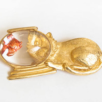 Vintage JJ Jonette Cat and Fish Bowl Brooch, Lucite Gold Novelty Pin, 1970s 80s Jewelry Large Brooch